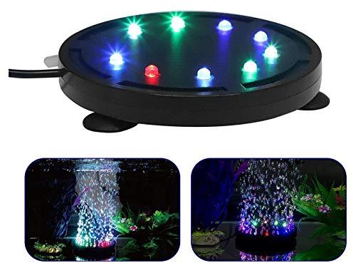 DANYIN Acuario subacuático LED luz de Aire de Aire Colorido para la lámpara Redonda del Tanque de Peces, con 12 Colores Que cambian la luz LED