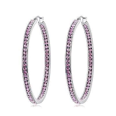 CiNily Ladies Earring Hoops-Large Hoops Stainless Steel Hoop Earrings for Women Pink Cubic Zirconia Big Hoop Earrings Hypoallergenic for Sensitive Ears