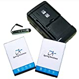 New 2X 1800mAh High Power Standard Battery for Straight Talk/Tracfone/Net10 LG Lucky L16C Portable USB Travel Wall Charger Screen Touch Pen Cellphone