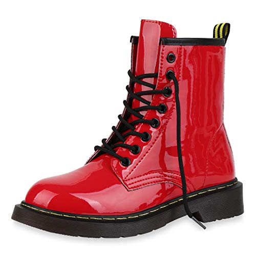 SCARPE VITA Damen Stiefeletten Worker Boots Profilsohle Stiefel Outdoor Schuhe 173515 Rot Lack 41