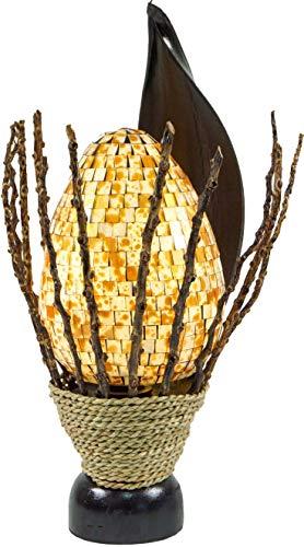 Guru-Shop Lámpara de Mesa/Lámpara de Mesa, Hecha a Mano en Bali, Madera de Palma, Mosaico de Vidrio - Modelo Manis, 42x19x22 cm, Lámparas de Mesa de Materiales Naturales