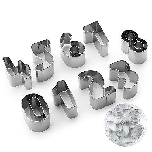 Eco Memos Cortadores de Galletas Conjunto de 9 piezas Acero Inoxidable Número Cortadores de Galletas Fondant DIY Cortadores de Pastelería para Hornear - de 0 a 8, 6 al revés es 9