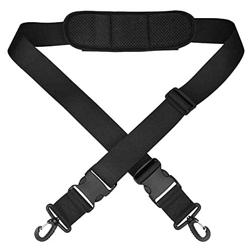 Taschenmann2005 Ersatz Schultergurt schwarz für Handtasche, Sporttasche | Schulterriemen mit Karabinerhaken und abnehmbarem Polster, auch als Tragegurt Tragehilfe | 5 cm breit, 82-150 cm