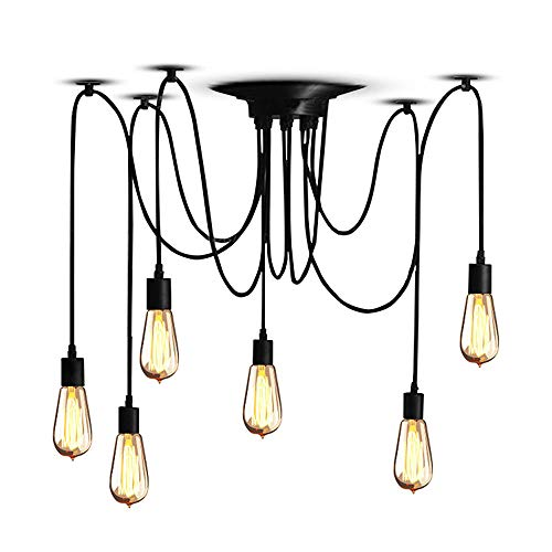 Vintage Industrie Plafond Licht Opknoping Hanglamp 6 Arms E27 Edison Retro Kroonluchter Hanger Aanpasbare DIY Industriële Plafond Lamp (1.5M Wire)