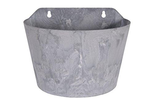 Artstone Pflanzgefäß Wandtopf Claire, frostbeständig und leichtgewichtig, Grau, 24x16x18cm