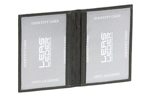 LEAS Ausweismappe- & -hülle mit 2 Sichtfenstern Echt-Leder, schwarz Card-Collection