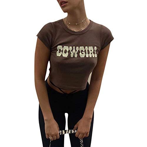 Camiseta de manga corta para mujer y niña, diseño sexy Y2K con impresión gráfica y cuello redondo, cuello redondo, cuello redondo, manga corta, ropa de calle para adolescentes, verano café S