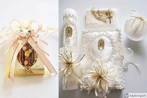 Learn More About Vela blanca con libro & rosario,medallita virgen de Guadalupe set para bautizo de N...