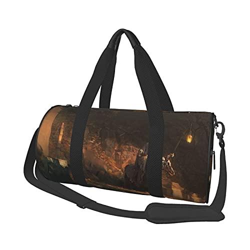 Skelett Laterne Pferd Leinwand Reisetasche, Sport-Einkaufstasche für Männer Frauen, 17,7 'Folle Weekender Bag