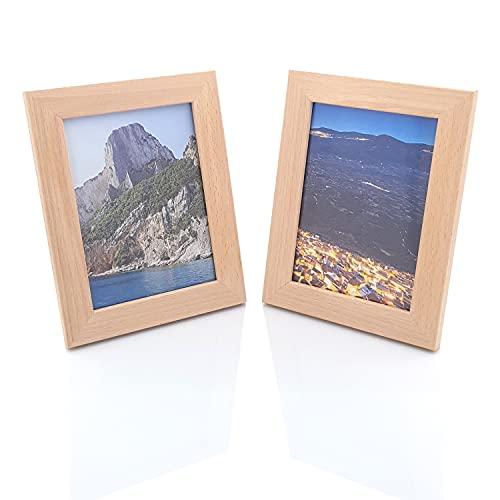 Primolegno 2 x Bilderrahmen aus Naturholz | Größe 17 x 22 cm | mit Schutzglas und Rahmen | Natürliche Verwendung für Fotos oder Dekorationen.