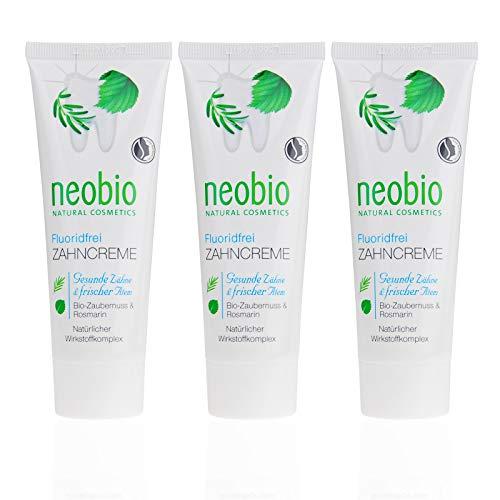 NEOBIO Zahncreme ohne Fluorid (3 X 75 Ml), Rosmarin Und Zaubernuss Geschmack, Bio Zahnpasta, Vegan, Fluoridfrei, Naturkosmetik