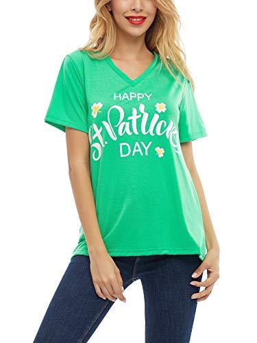SATINIOR Women Happy St. Patrick's Day Shirt Printed Clover Green Shamrock T-Shirts Top (Medium)