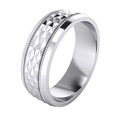 Heavy Sterling Silver 7mm Mens Wedding Band Diamond Cut Sparkle Patterned Ring Comfort Fit Polished (O)