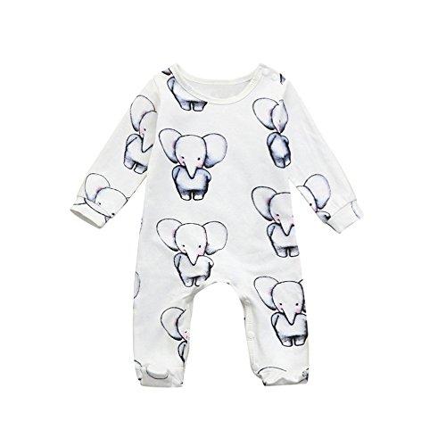 Jimmackey Neonato Unisex Tutine Elefante Stampa Pagliaccetto Manica Lunga Romper Tuta Vestiti(Bianca, 3 Mesi)