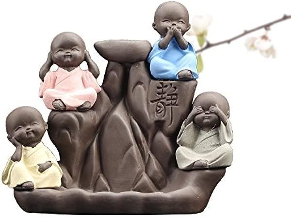 Monks Backflow Incense Burner Censer Home Aromatherapy Buddha Statue Incense Cones Ceramic Incense Burner