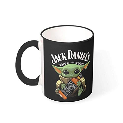 YxueSond Jack Daniels Baby Yoda Kaffeebecher, Geschenk für Liebhaber, 325 ml, keramik, Drakblack, 330ml
