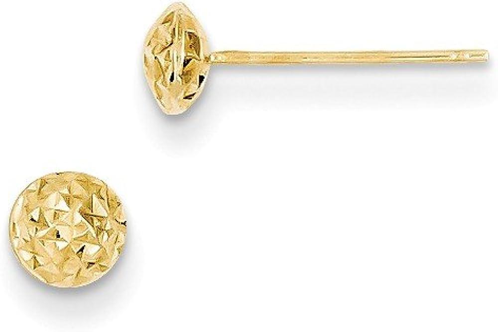14K Gold 5mm Circle Puff Post Earrings