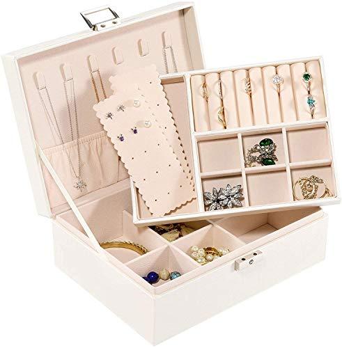 Recet Joyero con 2 niveles, caja de joyería con cerradura, para adolescentes, niñas, mujeres, piel sintética, forro interior suave (blanco)