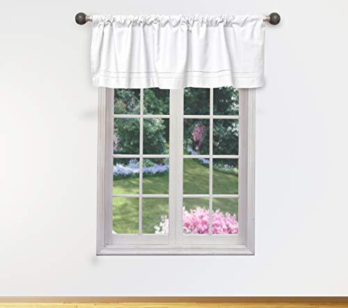 Vera Neumann Miles Vorhangvolant für kleine Fenster in der Küche, für Cafés, Bad, Wäsche oder Schlafzimmer, 147,3 x 38,1 cm, Weiß