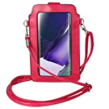 Touch Screen Purse Small Leather Crossbody Phone Bag Holder Wallet Pouch with Clear Window Card Pocket for Samsung Galaxy Note 20 10 S10+ S20 Plus A10S/ Moto G Stylus,G7/ OnePlus 8/ LG Stylo 5 (Pink)