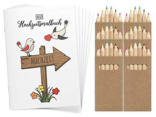 Wedding Shop Love Grows 6 libros para colorear de boda DINA6 con juego de lápices de colores / libro para colorear de 24 páginas para bodas, para niños, regalos