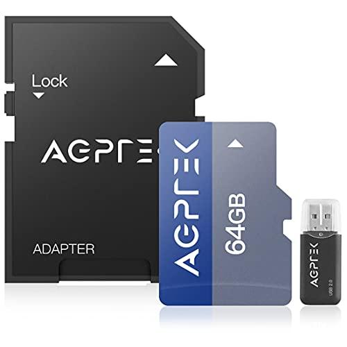 AGPTEK 64GB Karte mit Kartenleser, TF Karte kompatibel mit Smartphone, GPS, Tablet PCs, Digitalkameras und jedem MP3, Schwarz und Blau