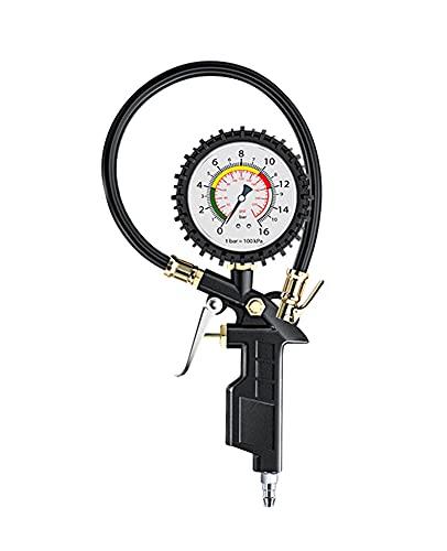 Medidor de presión de neumáticos, medidor de presión de neumáticos de 220 psi con tubo de gas y tapas de válvulas de tubo de resorte para monitorear la presión de los neumáticos, la herramienta automo