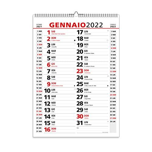 Calendario 2022 da Muro Olandese Classico con Feste Settimane Lune e Santi in Carta...