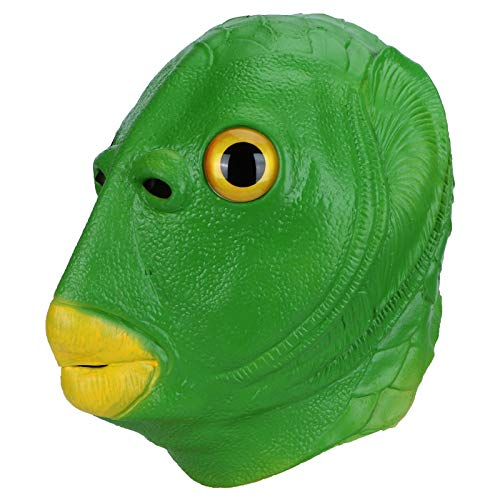 Hyuduo Máscaras divertidas, máscara de cabeza completa de pez verde, máscara de látex con 3 tipos de accesorios de cosplay para suministros de disfraces de fiesta