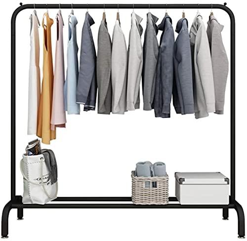 Riel de ropa pesada, estante de exhibición de ropa individual, estante de exhibición de metal pesado, zapatero, armario con estante/negro/100×45×150cm.