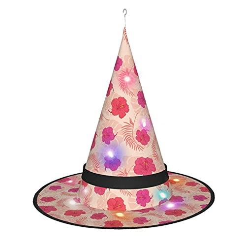 cercehy sonxs Sombrero de bruja de hibisco rosa con luz, para disfraz de Halloween, fiesta de disfraces, cosplay y uso diario