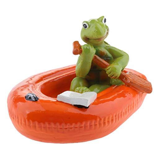 Homyl Schwan schwimmend Dekoschwan Schwimmfigur, Ideal für Garten Teich Rasen Deko Schwimmfigur Teichdeko der Hingucker im Teich - 6# rote Boot Schildkröte