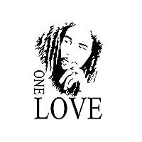 Onior プレミアム品質ボブ・マーリーワン・ラブビニールアート壁画壁ステッカーホームデカールの装飾部屋音楽ファン黒43 * 61センチ