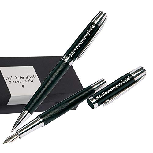 Juwelier Schönschmied - Schreibset mit Gravur & Wunschsymbolen Stift mit Gravur Inklusive Geschenk-Etui - Metall-Kugelschreiber (schwarzschreibend) & Metall-Füller Schreibset 4 PS4