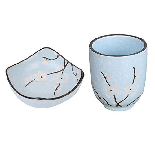 perfk Sushi Wasabi de Inmersión Taza de Té 150ml / 5oz Set Vintage Style Blue Ceramic