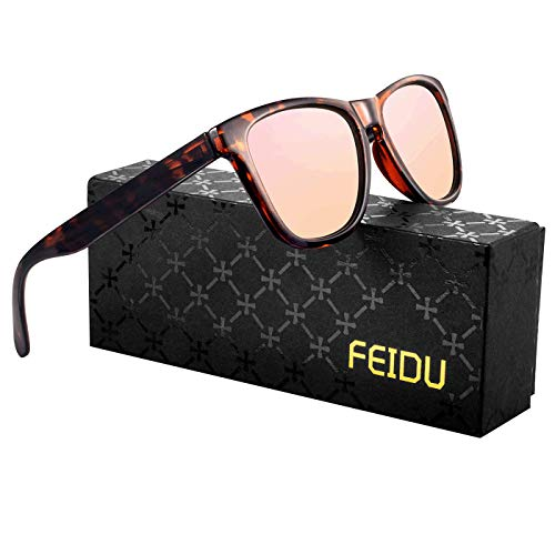FEIDU Retro Polarisierte Damen Sonnenbrille Herren Sonnenbrille Outdoor UV400 Brille für Fahren Angeln Reisen FD 0628 (Leopard-rosa, 60)