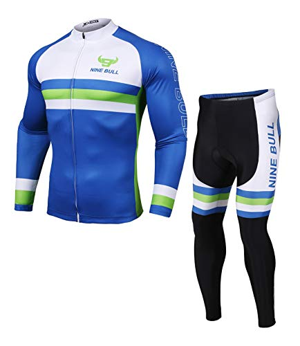 Men's Cycling Jerseys Set Long Sleeve Mountain Bike Road Bicycle MTB Jacket with 3D Padded Pants Riding Clothing Set (Cx-Blue, X-Large)