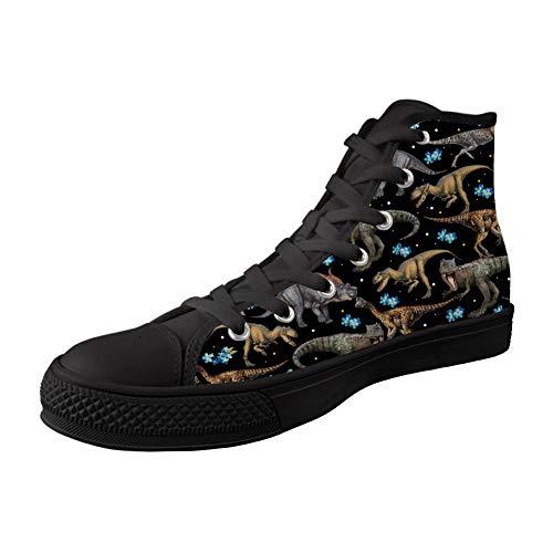 MODEGA Zapatos De Lona De Impresión para La Impresión De Los Dinosaurios Dinosaurio Chicas Altas Mujeres Superiores Calza Los
