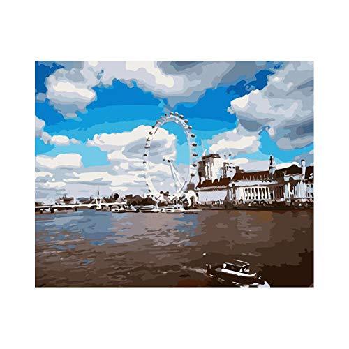 MoorJack Malen Nach Zahlen DIY Malen Nach Zahlen Kits öLfarbe Zeichnung Leinwand Home Decor Geschenk, London Eye Riesenrad-Gerahmt_40X50cm
