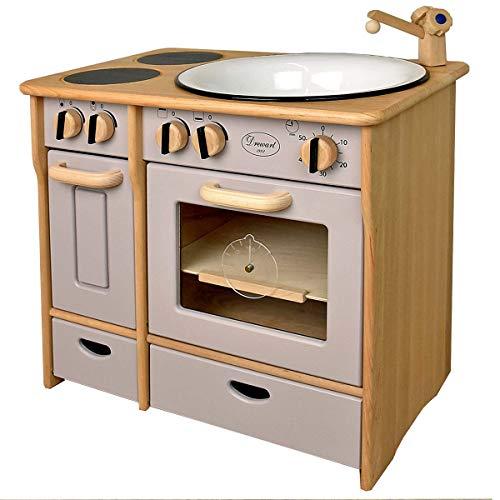 Unbekannt Drewart Kinderküche Landhaus, grau - Spielküche aus Holz , Küche für Kinder
