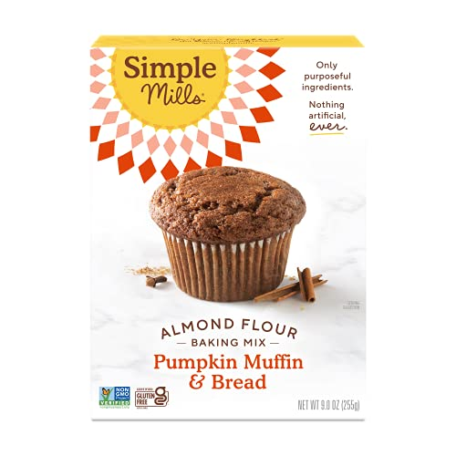 Simple Mills Almond Flour Baking Pumpkin Bread Mix, Gluten Free, Muffin Pan Ready, Made with Whole Foods (Packaging May Vary), 9 Oz