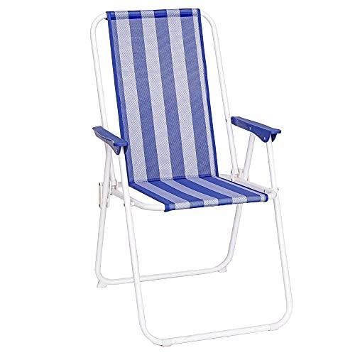 Silla de Playa Plegable Azul Marino y Blanca Hierro clásico de 88x53x46...