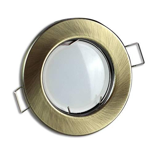 LED Einbaustrahler messing/gold rund 5 Watt warmweiß 12V – MR16 Einbauleuchte 60mm Bohrloch – Einbau-Spot Decken-Strahler Deckeneinbaustrahler Deckenspot Deckeneinbauleuchte