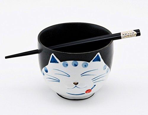 Happy Sales, Japanese Ramen Udon Noodle Soup Cereal Bowl With Chopsticks (BlackCat)