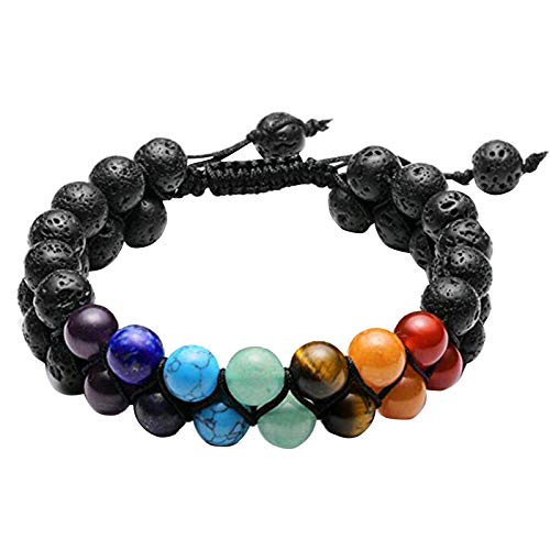 7 Chakra Aromatherapy Essential Oil Bracelet Healing Crystal Stone Double Layers Beads Bangle Reiki Yoga Meditation for Men Women W4367 Black Hole