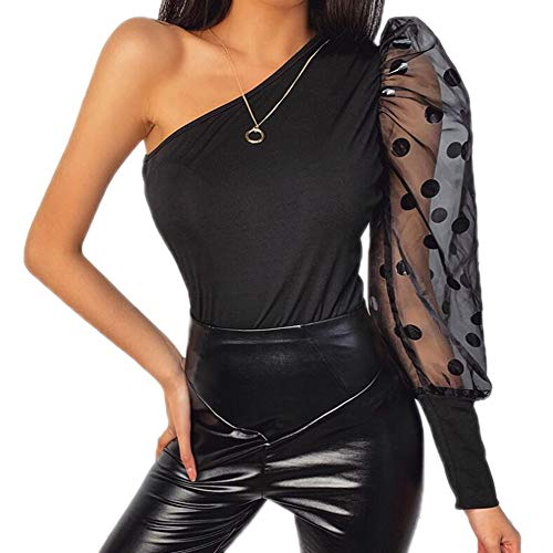 Blouse voor dames - Pofmouwen T-shirt Dames Off-shoulder casual tops Chique mesh patchwork shirts
