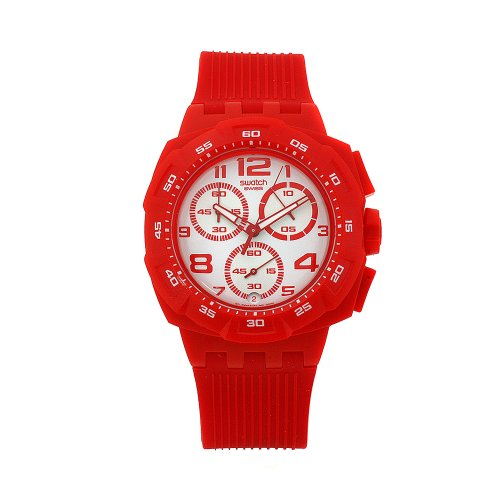 Swatch SUIR400 - Reloj cronógrafo de caballero de cuarzo con correa de plástico roja