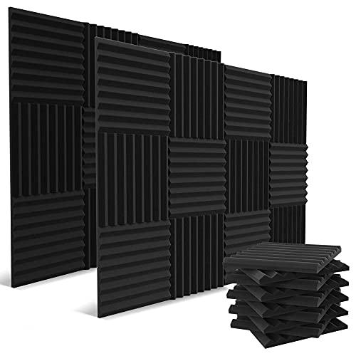 52 Pack Acoustic Panels 1 X 12 X 12 Inches - Acoustic Foam - Studio Foam Wedges - High Density Panels - Soundproof Wedges - Charcoal