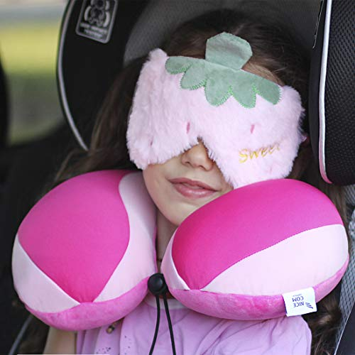 Kids Neck Pillow, for Car, Carseat, Airplane,Travel Pillow Girls, & Sleep Mask Pink - Headrest Pillow for Children - Back, Neck, Heard, Chin, Support - Child's Neck Pillow - Pink - Girl