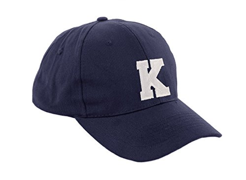 morefaz Unisex Jungen Mädchen Mütze Baseball Cap Marineblau Hut Kinder Kappe Alphabet A-Z TM (K)